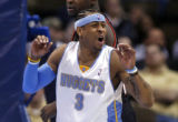 Denver Nuggets guard Allen Iverson disputes a call in the fourth quarter of play against the...