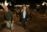 7:36 p.m. Bill Ritter, Democratic candidate for governor steps out 100 ft from the entrance of the...