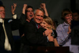 (RMN026) A jubilant governor-elect Bill Ritter acknowledges his victory and Bob Beauprez's...