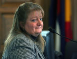 Englewood Councilwoman Laurett Barrentine  testifies during a hearing for Arapahoe County District...