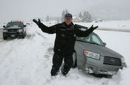 The knucklehead that stuck his car in the ditch in front of two stuck snow plows  on east bound...