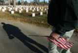 MJM431  South Denver VFW 2461 member, Bob Clemmer (cq) carries an American flag as he and fellow...