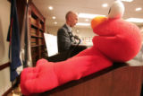 Jeffrey Sweetin (cq) Special Agent in Charge, DEA, stands behind a Tickle me Elmo doll at the U.S....