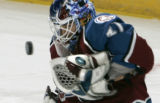 Colorado Avalanche goalie Peter Budaj makes a save against the Washington Capitals in the first...