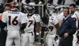 (BG0963} Denver Broncos coach Mike Sannohan yells a play into Jake Plummer after a timeout against...