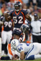 (JPM1570) Denver Broncos Al Wilson, #56, and Ian Gold, #52, react to a 8-yard catch by ...