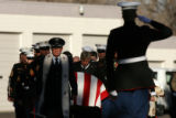 (DLM2743) -  The casket of U.S. Marine Cpl. Kyle W. Powell is carried by the United States Marine...