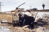 Historical photo from the site of the school bus crash that killed 20 children near Greeley,...