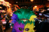 (DLM0317) -  Employee Gayle Ginsberg dressses as a Mardi Gras queen at the Ritz, a costume and...