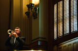 "(DENVER, Colo., April 27, 2004) Lloyd Bowen, plays ""Taps"" during the morning session on..."