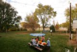 The grandchildren carve pumpkins in the backyard at the home of Alice Richardson, who survived the...