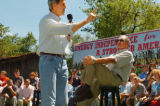 (8/06/2004, GOLDEN, CO)    John Kerry addresses a question while Jim Nelson watches on the...