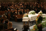The memorial service for Becca Bingham and her children Macie, 4, and Garrison, 2, was held from...