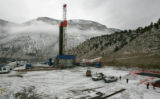 A Patterson drilling rig drills multiple wells on EnCana's  Rig #170  at the North Parachute Ranch...