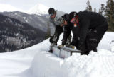 Copper Mountain park crew workers, (L-R) Travis Tietjen (cq) and Matt Malinski (cq) and Nate...
