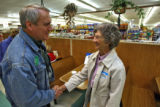 (DLM1458) -  Democratic gubernatorial candidate Bill Ritter shakes the hand of Dorothy Schenk as...