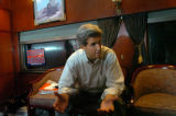 (8/07/2004 Las Vegas, NM)  John Kerry gave us a brief interview on his train on the way from Las...
