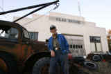 Myrl Greenlee (cq) stands in front of his old garage Wednesday evening, October 31, 2006 in Vilas...