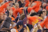 [RMN037] - In the first quarter, Denver Broncos fans wave pom-poms and foam fingers during the...