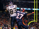 In the fourth quarter, the Denver Broncos Darrent Williams (#27, CB) gets beat for the game...