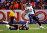 In the fourth quarter, the Denver Broncos David Kircus (#87, WR) fails to wrap up the San Diego...