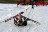 Jude Ellis, 9, refuses to let go of the tow line handle as he is dragged up the beginner slope at...