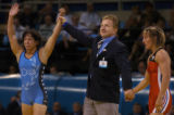 (Athens, Greece  on Monday, Aug. 23, 2004) - American 48-kilogram wrestler Patricia Miranda, left,...
