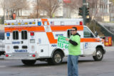 Mason chuckled as he waived as the ambulance passing by set off its sirens. Mason Tvert (cq),...