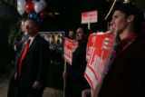 Doug Lamborn, cq, a candidate in Colorado's 5th congressional district, gathers with supporters to...