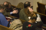 Shannon Cupp(r)  leans on her husband Casey Cupp  , while mourning the deaths of Rebecca Bingham...
