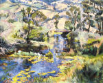 "Joellyn Duesberry, ""Spring Creek Flowing into Yellowstone River,"" MT, Oil on linen, 40 x..."