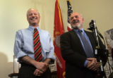 Republican Secretary of State-elect Mike Coffman, left, and Ken Gordon laugh at Coffman's remark...