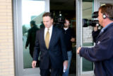 US Secret Service Special agent Lon Garner, leaves the Douglas County Courthouse after his...