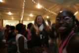 Celebrating and giving thanks and dancing are  Jeneba Kabbah, (cq) 13(r) here from Sierra Leone 6...