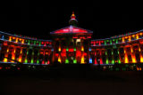 Denver City and County Building is lit during a test of the holiday lights early Tuesday morning...