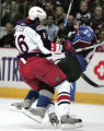 Avs #23 Milan Hejduk runs into Blue Jackey's #16 Alexander Svitov as the Avs take on the Blue...