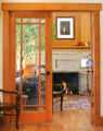 The music room of the Naake's Park Hill house.  Builder Steve Luber (Cq) of Denver created an...