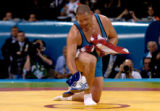 (ATHENS, GREECE-AUGUST 25, 2004) United States' wrestler, Rulon Gardner, of Afton, Wyo., places...