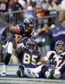 In the second quarter, the Denver Broncos John Lynch (#47, S) complains of being pushed as the San...
