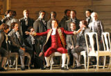"King Gustavus (tenor Julian Gavin) and the chorus of ""Un ballo in maschera"" (""The..."