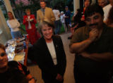 (DENVER, CO., AUGUST 10, 2004)Denver District Attorney candidate Beth McCann (center) is...