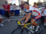 (ATHENS, GREEECE, AUGUST 11, 2004)    USA Road Cyclist Tyler Hamilton, takes off during a practice...