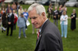(DENVER, CO., Aug 11, 2004) Senate Candidate Pete Coors arrives at a rally in Fort Collins on...