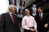 (DENVER, CO., Aug 11, 2004) Senate Candidate Pete Coors, left, walks the 16th Street Mall with...
