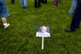 (DENVER, CO., Aug 11, 2004) A Pete Coors sign lies in the grass at the end of a rally in Fort...