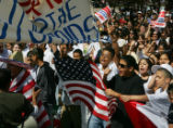 JOE149 Several hundred people marched through along Colfax Avenue near Civic Center Park in...