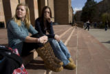 DLM0302  University of Colorado seniors Justine Rohde, 22, from left, and Melanie Charlton, 21,...