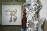 Artist John McEnroe's work, made from melted plastic sheeting and paint, at the Plus Gallery in...