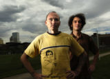 08/24/2004 Denver-Metro student Mikel Stone, left, and CU Denver student Stephen Polk will travel...