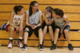 (L-R) Marisa Laundreaux, 16, Calee LeCompte,18 Missy Swan, and Megan Swan, enjoy a break  during ...